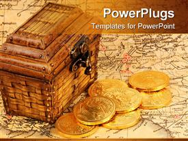 PowerPoint template displaying treasure box and treasure map with gold coins