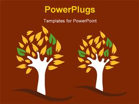 PowerPoint template displaying a painting of two tress on a brown colored background