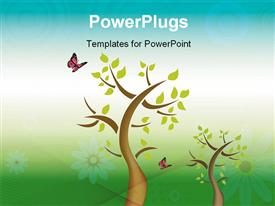 PowerPoint template displaying computer generated depiction about nature tree and butterfly