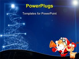 PowerPoint template displaying an abstract of light rays forming a Christmas tree and Santa clause