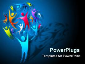 PowerPoint template displaying an illustration of a tree made with lots of colorful characters