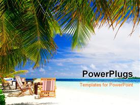PowerPoint template displaying a beach with a lot of chairs