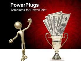 PowerPoint template displaying animated depiction of a human figure and dollar bills in a trophy