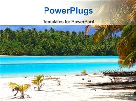 PowerPoint template displaying beautiful sight of tropical beach with blue waves and palms