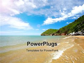 PowerPoint template displaying scenery of beach with ocean waves on beach sand and cloudy sky