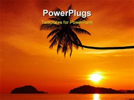 PowerPoint template displaying tropical beach at sunset Mak island Thailand