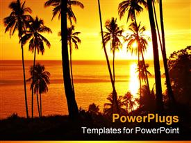 PowerPoint template displaying a beautiful depiction of a number of palm trees on the beach