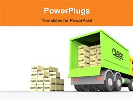 PowerPoint template displaying cargo-truck #1 in the background.