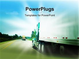 Passing a transportation truck on a highway powerpoint theme