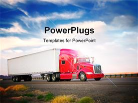 PowerPoint template displaying red truck moving on a vibrant highway in the background.
