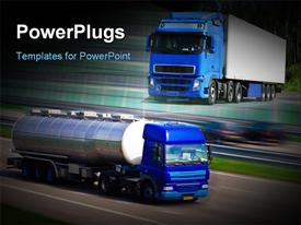 Tanker truck on motorway. Motion blur powerpoint design layout