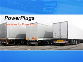 Three lorries of semi truck at parking  trailer template for powerpoint