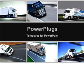 PowerPoint template displaying montage of several depictions of trucks in the background.