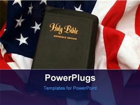 PowerPoint template displaying a close up vie of a black bible on a USA flag