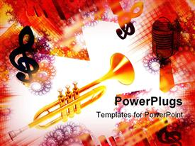PowerPoint template displaying golden trumpet with treble clef, microphone and colorful spiral and grid background