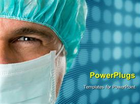 PowerPoint template displaying mature male surgeon gazing and looking at camera at hospital, close up shot