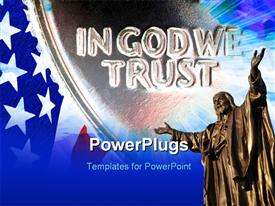 PowerPoint template displaying american flag with IN GOD WE TRUST motto etched in stone