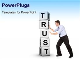 PowerPoint template displaying man pushing pile of white cubes with word TRUST