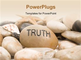 PowerPoint template displaying a number of stones and shells with pinkish background