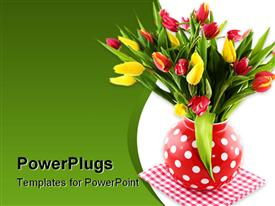 PowerPoint template displaying a boque of tulips with greenish background