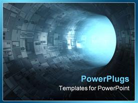 High technology tunnel 3D concepts sci-fi image powerpoint template