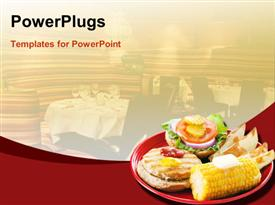 PowerPoint template displaying healthy turkey burger on whole grain bun, with baked potato wedges and corn on the cob