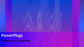 PowerPoint template displaying abstract animated tiny wave lines on purple background - widescreen format