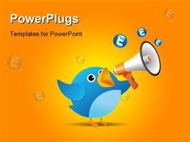 PowerPoint template displaying twitter bird using loud speaker on orange background