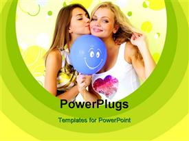 Two attractive girls with a balloon against the wall powerpoint design layout