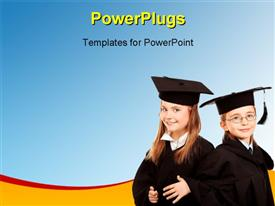 PowerPoint template displaying two students wearing the graduating dress