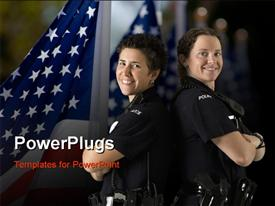 PowerPoint template displaying two mid adult Caucasian policewomen standing back to back looking over their shoulders