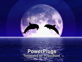 PowerPoint template displaying two dolphins jump out of the sea centered in the moon