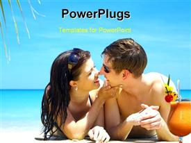 PowerPoint template displaying portrait of attractive couple having chat on the beach in the background.