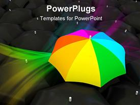 Color umbrella over black template for powerpoint
