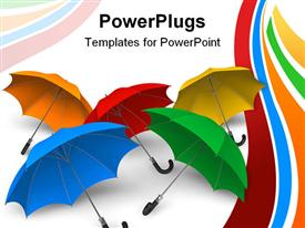 Set of color umbrellas powerpoint template