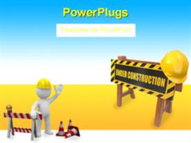 Barrier with text under construction and hardhat. 3D powerpoint theme