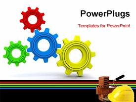 PowerPoint template displaying beautiful 3D Under Maintenance wheels with safety helmet