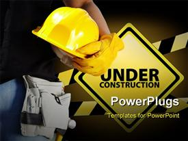 Builder with yellow helmet and working gloves on building site powerpoint design layout