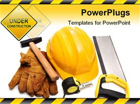PowerPoint template displaying hard hat gloves hammer and tape-measure in the background.