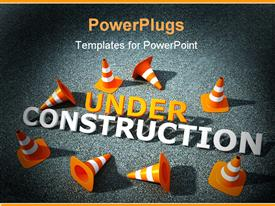 PowerPoint template displaying 3D traffic canes on asphalt with under construction logo