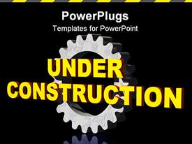 Under construction text and gearwheel on black background - 3D presentation background