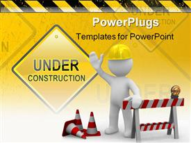 Worker says hello we are under construction presentation background
