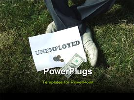 PowerPoint template displaying unemployed man sitting on the grass