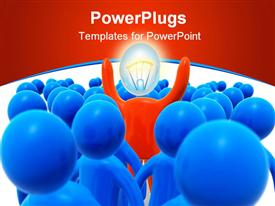 Middle of the crowd of blue figures. Concept of uniqueness powerpoint template
