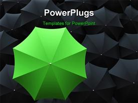 One green umbrella on top of many black umbrellas template for powerpoint