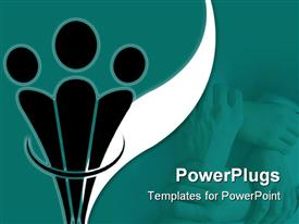 PowerPoint template displaying aadepiction of lots of human hands joined together in a bond