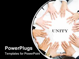 Business people keeping their hands next to each other in the form of circle powerpoint template