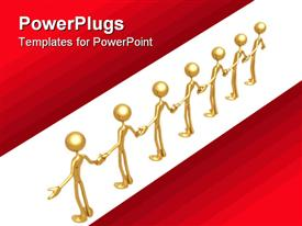 PowerPoint template displaying 3D golden figures holding hands in a line on white background surrounded by red background