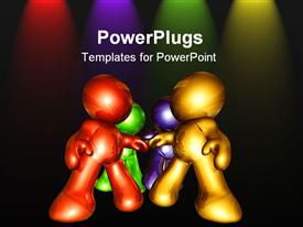 Gold figures holding hand as solid team work powerpoint design layout
