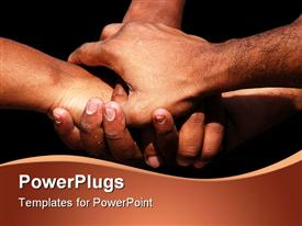 PowerPoint template displaying four adult hands showing team work on a black background